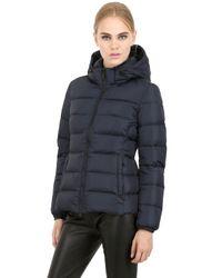 Add - Blue Hooded Nylon Down Jacket for Men - Lyst