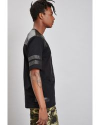 Forever 21 - Black Reason 00 Faux Leather-paneled Tee - Lyst