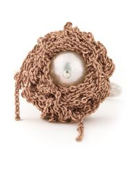 Arielle De Pinto - Pink Chained Pearl Ring - Lyst