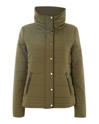 Vila - Green Long Sleeved Padded Jacket - Lyst