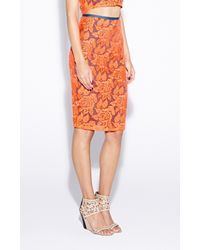 Nicole Miller - Orange Carter Flower Organza Skirt - Lyst
