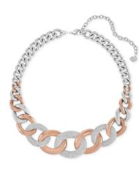 Swarovski | Pink Two-tone Large Link Crystal Pavé Necklace | Lyst