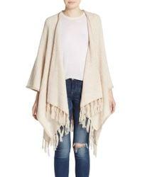 Kensie - Natural Tassel-trim Knit Poncho Cardigan - Lyst