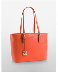 Calvin Klein | Orange White Label Scarlett Saffiano Leather Shopper Tote | Lyst
