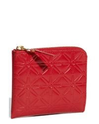 Comme des Garçons | Red Small Embossed Half Zip French Wallet | Lyst