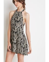 Forever 21 | Black Leaf Print Halter Dress | Lyst