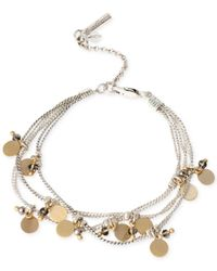 Kenneth Cole | Multicolor Two-tone Shaky Disc And Bead Multi-row Bracelet | Lyst