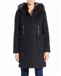 Dawn Levy | Black Lara Faux Fur-hooded Walker Coat | Lyst