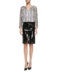 Tamara Mellon - Black Patent Leather Pencil Skirt - Lyst