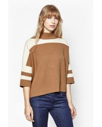 French Connection | Brown Mozart Oversized Colour Block Jumper | Lyst