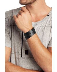 HUGO - Black E-Pilot | Leather Wrap Bracelet for Men - Lyst