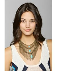 Urban Outfitters | Metallic Turquoise Fringe Bib Necklace | Lyst