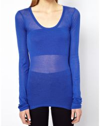 American Vintage - Pink Scoop Neck T-Shirt with Long Sleeves - Lyst