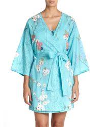 Natori - Blue Sakura Floral Cotton Wrap - Lyst