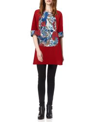 Almost Famous | Red Oriental Floral Panel Tunic | Lyst