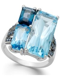 Macy's - Blue Topaz (19 Ct. T.w.) And Swarovski Zirconia Accent Ring In Sterling Silver - Lyst