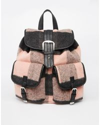 ASOS - Pink Check Backpack - Lyst