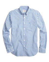 Brooks Brothers - Blue Check Sport Shirt for Men - Lyst