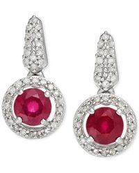 Macy's - Red Ruby (1/5 Ct. T.w.) And Diamond (1/5 Ct. T.w.) Earrings In Sterling Silver - Lyst