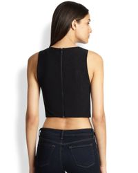 Alice + Olivia - Black Lorita Leather Cropped Top - Lyst