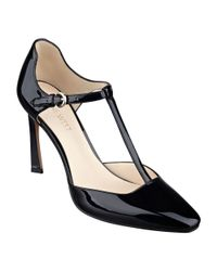 Nine West | Black Cancan T-strap Pumps | Lyst