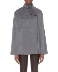 JOSEPH - Gray Lina Wool And Cashmere-blend Cape, Women's, Size: 12, 240 Smoke Combo - Lyst