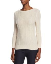 The Row - Natural Cable-knit Cashmere/silk Sweater - Lyst
