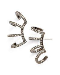 Nadri   Black 'starry Night' Multi Hoop Linear Stud Earrings   Lyst