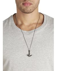 Miansai - Black Gunmetal Anchor Necklace - Lyst