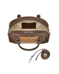 Alviero Martini 1A Classe - Lady Geo Print Fabric Dark Brown Suede And Leather Satchel Bag - Lyst