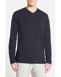 Daniel Buchler | Blue Pima Cotton & Modal Long Sleeve V-neck T-shirt for Men | Lyst