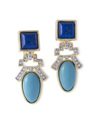 Kenneth Jay Lane | Blue Lapis And Turquoise Drop Clip Earring | Lyst
