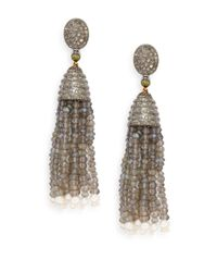 Bavna | Metallic 2.74 Tcw Diamond, Labradorite & Sterling Silver Tassel Drop Earrings | Lyst