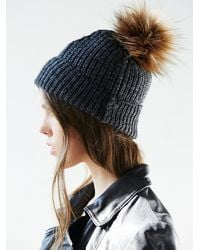 Free People - Gray Womens Pom Pom Beanie - Lyst