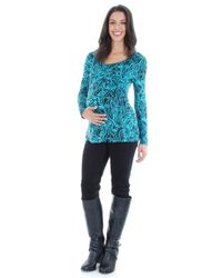 Everly Grey - Blue 'bailey' Long Sleeve Maternity/nursing Top - Lyst