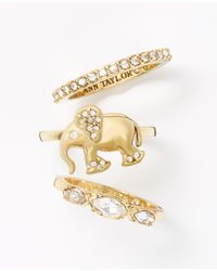 Ann Taylor - Metallic Elephant Ring Set - Lyst