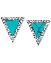 Michael Kors | Blue Silver-Tone Turquoise Triangle Stud Earrings | Lyst