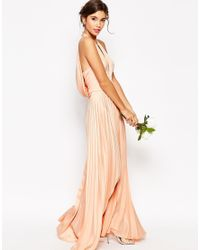 ASOS - Natural Wedding Pleat Deep Plunge Maxi Dress - Lyst
