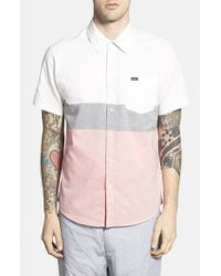 RVCA - Black 'that'll Do' Short Sleeve Colorblock Oxford Woven Shirt for Men - Lyst