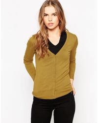 Vero Moda | Yellow V Neck Button Front Cardigan | Lyst