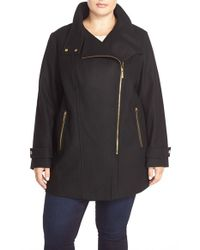 MICHAEL Michael Kors - Black Asymmetrical Zip Wool Blend Coat - Lyst