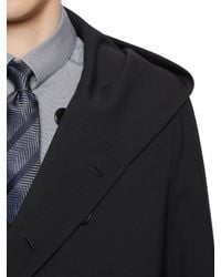 Giorgio Armani - Blue Water Repellent Stretch Bonded Wool Coat for Men - Lyst