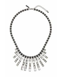 TOPSHOP   Black Crystal Rhinestone Drop Necklace   Lyst