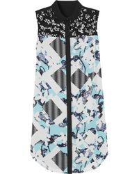 Peter Pilotto | Blue Lace-Paneled Floral-Print Crepe Shirt Dress | Lyst