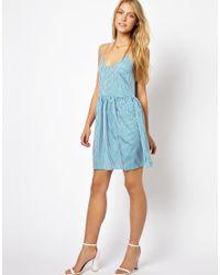 Traffic People | Blue Morse Code Midi Stripe Dress | Lyst
