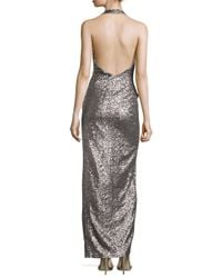 Halston - Gray Sequined Halter Gown With Front Slit - Lyst