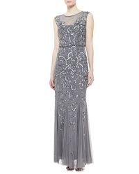 Aidan Mattox - Metallic Sleeveless Beaded Gown Gunmetal - Lyst