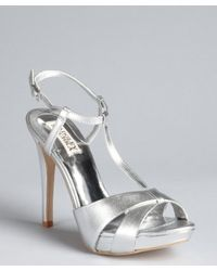 Badgley Mischka - Metallic Silver Leather Indigo Iii Tstrap Sandals - Lyst