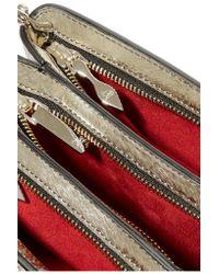 Christian Louboutin - Metallic Triloubi Medium Spiked Textured-leather Shoulder Bag - Lyst