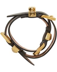 Alexander McQueen - Black And Gold Leather Wrap Bracelet - Lyst